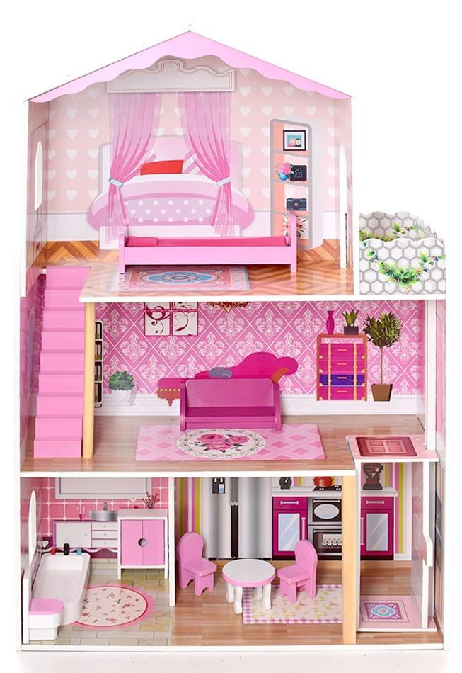 Деревянный кукольный домик с мебелью. 3 этажа XXL