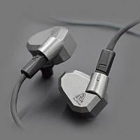 Гибридные четырехдрайверные наушники KZ ZS5 Mic  проводные Оригинал Серый