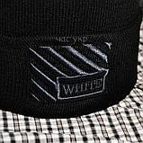 Трендовая мужская шапка Off-White черная Турция Офф вайт Хайповая Новинка 2020 года зима Молодежная реплика, фото 2