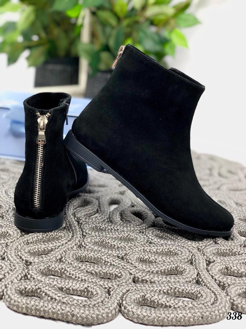 37 р. Ботинки женские зимние черные замшевые на низком ходу, из натуральной замши, натуральная замша