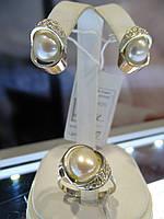 Набор серебряный с золотыми вставками и культивированным жемчугом, фото 1
