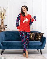 Женская теплая пижама с оленями, фото 1