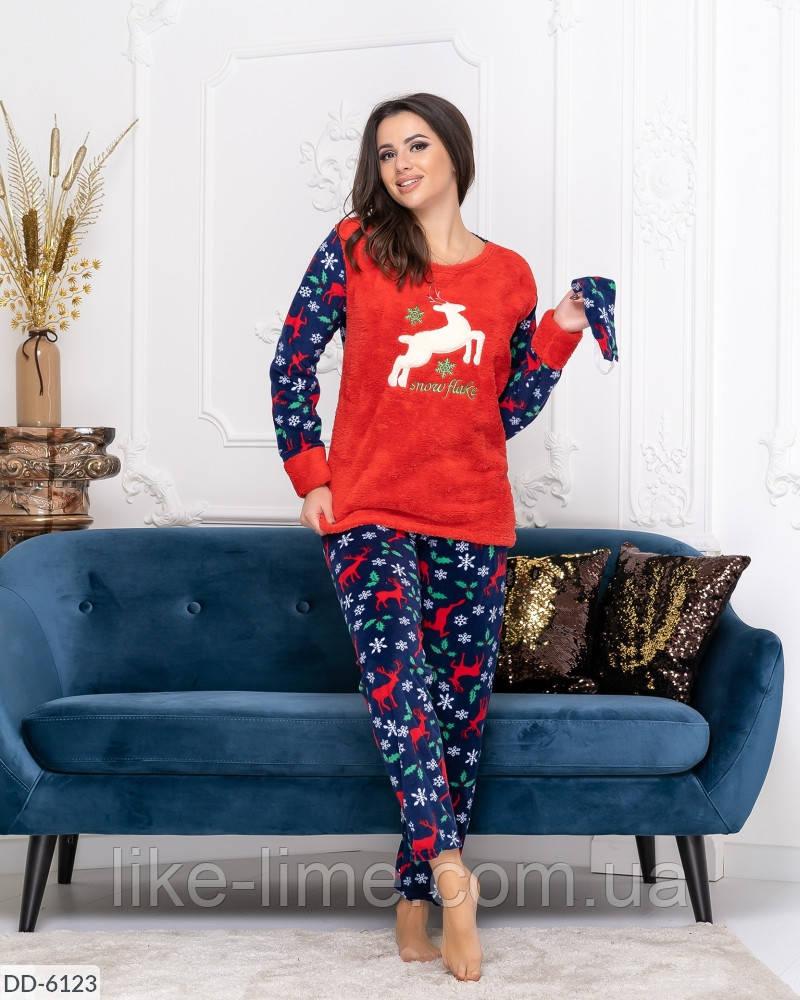 Женская теплая пижама с оленями