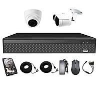 Комплект AHD видеонаблюдения на 1-у уличную и 1-у купольную камеру CoVi Security AHD-11WD KIT HDD 500 Гб
