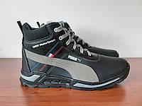 Чоловічі зимові черевики чорні спортивні прошиті теплі ( код 8355 ), фото 1