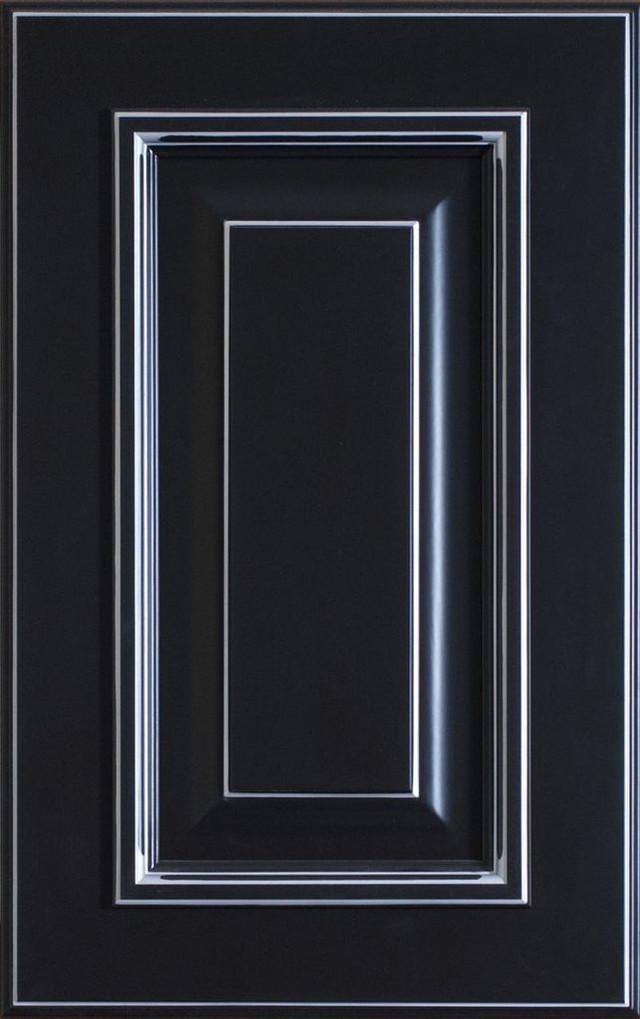 фасад МДФ Роял Гранд черный с серебряной патиной