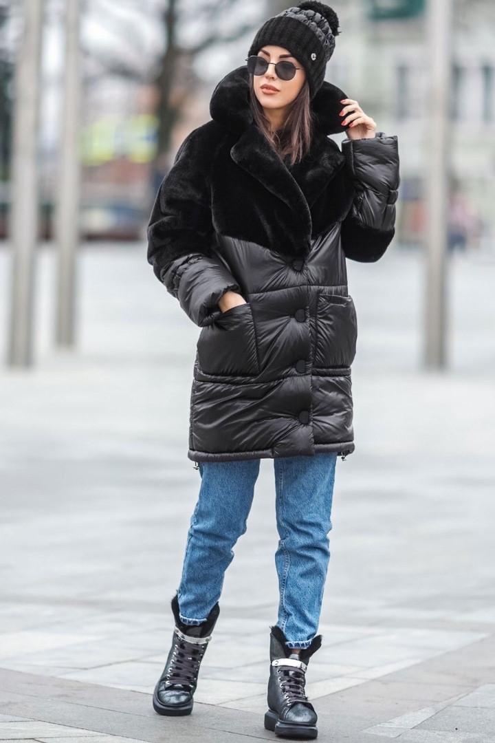Комбинированная зимняя женская куртка с искусственным мехом