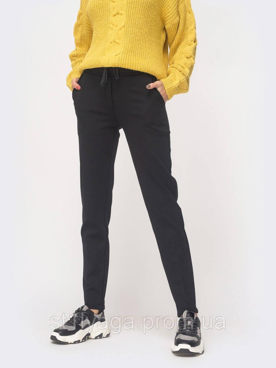 42/XS Базовые черные брюки на флисе с поясом на резинке и косыми карманами