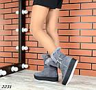 Женские зимние серые ботинки, из натуральной замши 36 41 ПОСЛЕДНИЕ РАЗМЕРЫ, фото 2