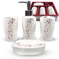 Набор аксессуаров для ванной S&T Цветочный барельеф White (888-131)
