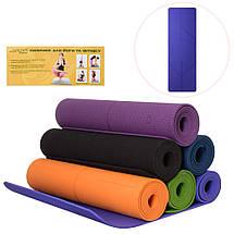 Коврик для фитнеса, йогамат (MS 2682) TPE 183-61 см. Черный 6 мм., фото 3