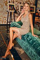 Короткое вечернее платье прямого кроя с бахромой