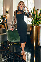 Вечернее облегающее платье-миди с рукавами из фатина черное
