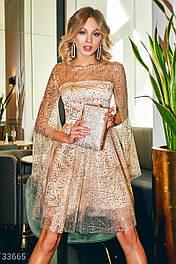 Короткое вечернее платье с золотистой россыпью и пайетками