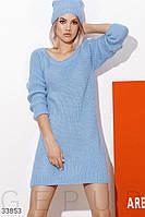 Короткое вязаное платье свободного кроя голубое