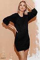 Короткое вязаное платье свободного кроя черное