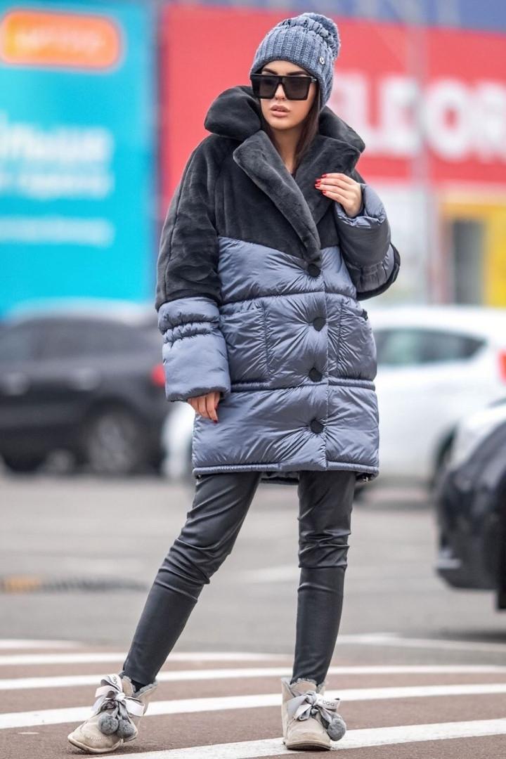 Комбинированная женская зимняя куртка с искусственным мехом