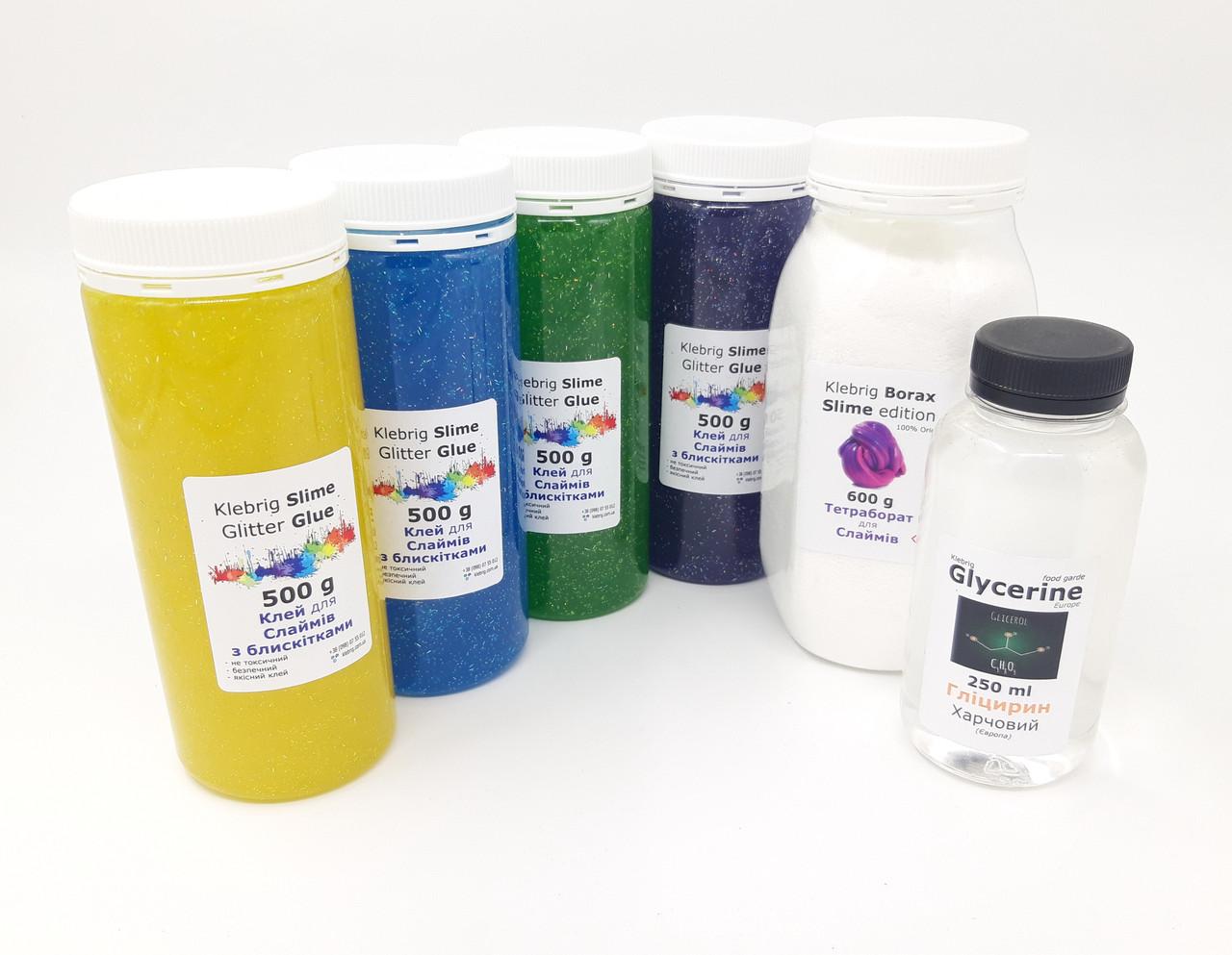 Цветной клей 2кг (4 цвета) + Тетраборат 600г + Глицерин + Лимонная кислота Набор