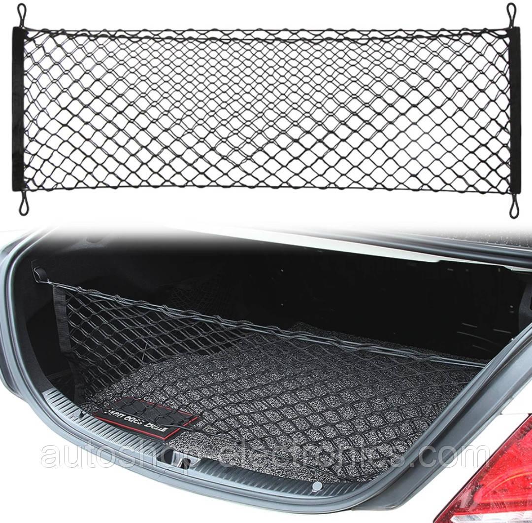 Универсальная СЕТКА / КАРМАН в багажник автомобиля с крючками ( 90 х 40 см )