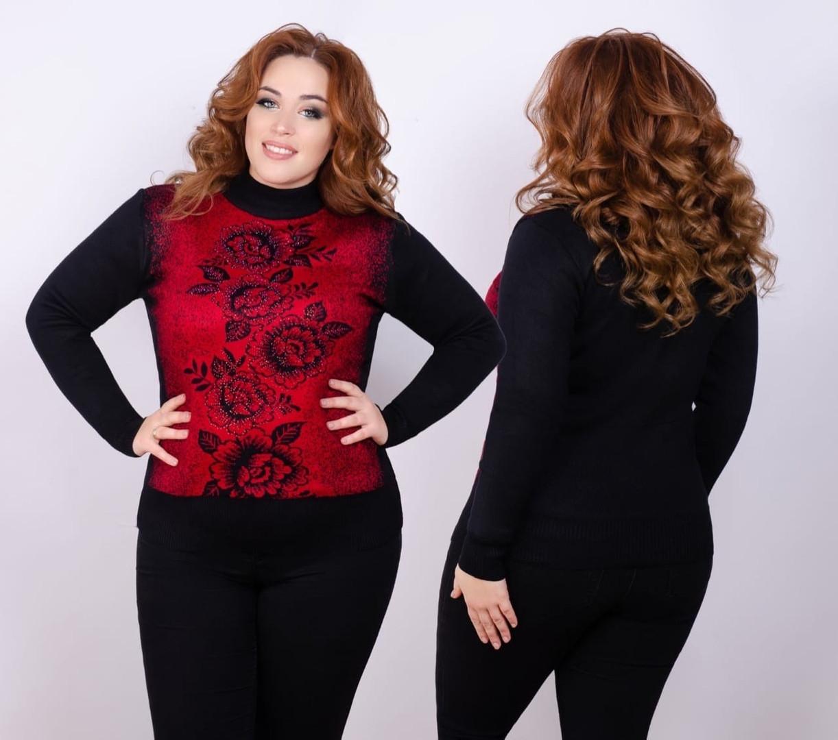Супер тёплый свитер из трикотажа на меху 48-52 размер