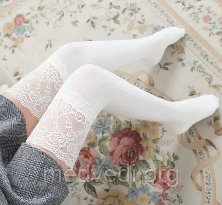 Белые женские гольфы-чулки выше колена с кружевом 55см