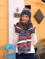 Женская шапка ,шарф,варежки
