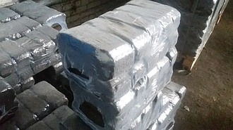 Брикет торфяной БТ-2, БТ-1 фасованный по 10 кг в термоусадке на поддонах по 960 кг