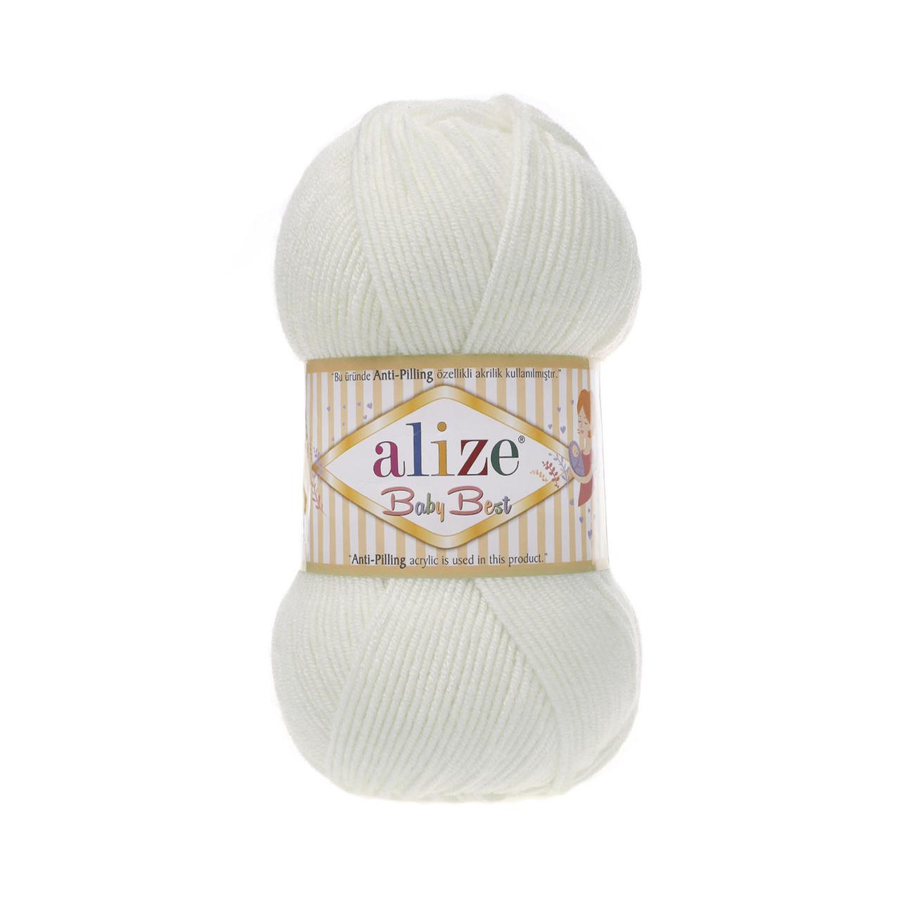Пряжа Беби Бест Ализе Alize цвет 450 белый жемчужный