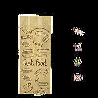 """88 Пакет бумажный """"Французкий  FASTFOOD"""" 160х70х40мм (ВхШхГ) 40г/м² (1уп/100шт)"""