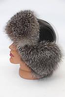 Стильная мужская шапка ушанка из меха ченобурки