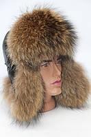 Мужская шапка ушанка из меха енота фина, фото 1