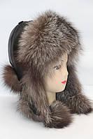 Шапка ушанка теплая женская из меха чернобурки