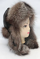 Шапка ушанка женская из меха чернобурки