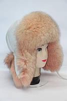 Женская шапка ушанка из меха песца