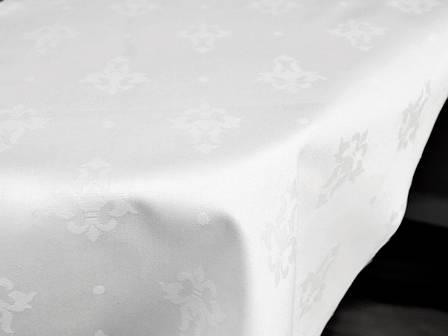 "Ткань для Скатерти Белая жаккард ""Трилист"" Х300 Хлопок 300см Чехия, фото 2"
