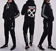 Утепленный спортивный костюм Off White / Трикотаж трехнитка - на байке / Размеры 46,48,50,52 - черный