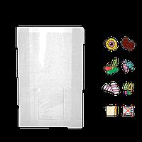 Бумажный пакет без ручек белый с прозрачной вставкой 290х140х50/60мм (ВхШхГхШВ) 40г/м² 100шт (66)