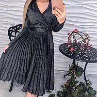 Женское нарядное платье с люрексом плиссированное черное