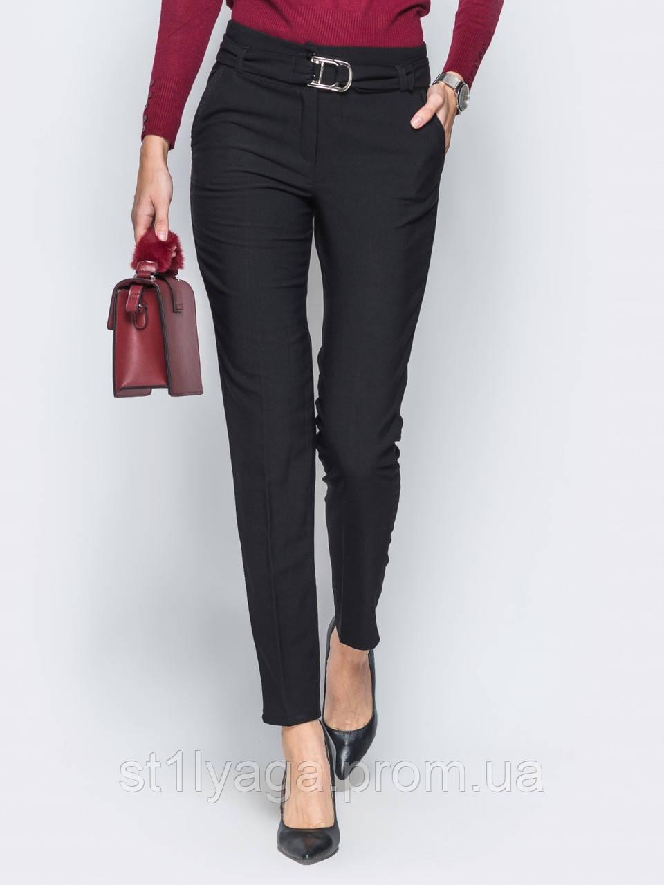 Черные брюки-дудочки из мягкого трикотажа на флисе