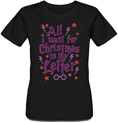 Женская футболка All I Want For Christmas Is My Letter (чёрная)