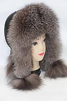 Женская шапка ушанка из чернобурки, фото 1