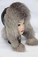 Шапка ушанка женская из меха лисицы чернобурки