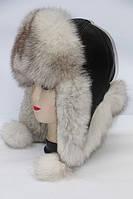 Теплая женская шапка ушанка из меха песца