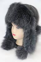 Женская шапка ушанка из меха песца серая