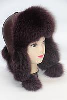 Стильная шапка ушанка женская из песца