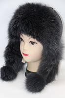 Зимова жіноча шапка вушанка з хутра песця