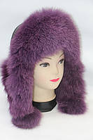 Меховая натуральная шапка ушанка женская песец, фото 1