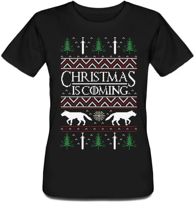 Женская футболка Game Of Thrones - Christmas Is Coming (чёрная)
