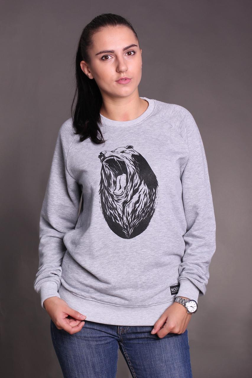 Свитшот Node grizzly oversize, серый женский свитшот