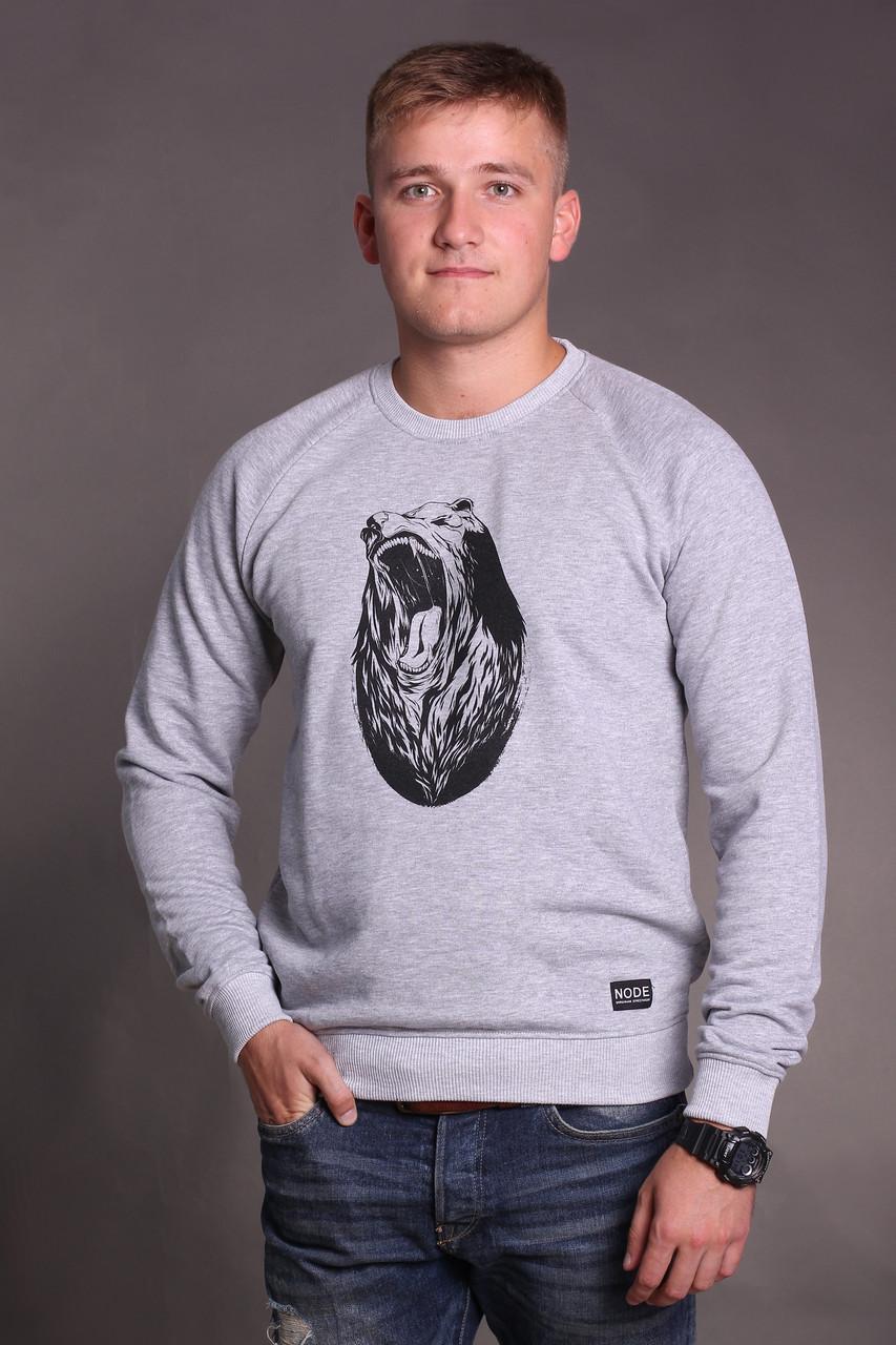Свитшот Node grizzly oversize, мужской серый свитшот